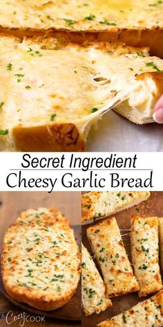 This Cheesy Homemade Garlic Bread recipe is easy to make with sliced bread! It's topped with a simple spread with a DELICIOUS secret ingredient! and easy food recipes videos Cheesy Homemade Garlic Bread Homemade Garlic Bread, Cheesy Garlic Bread, Simple Garlic Bread Recipe, Stuffed Garlic Bread Recipe, Garlic Bread With Cheese, Garlic Bread In Oven, Garlic Bread Baguette, French Garlic Bread, Stuffed Bread Recipes