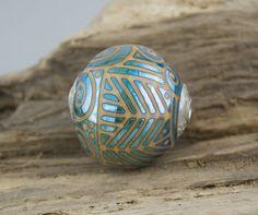 Alive Glass  Round Capped Focal  Elektra / Sandstone by aliveglass