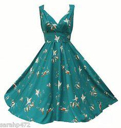 KUSHI RETRO 50'S STYLE SWING ROCKABILLY VINTAGE SWING DRESS NEW SIZE 10-20 FAB in Dresses   eBay