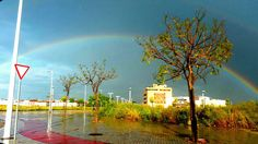 THE RAINBOW. Rainbows appear in rainy days.They are made when the sunlight crosses drops of water of storms. They are composed of seven colours. By M. Luna-2ºESO A