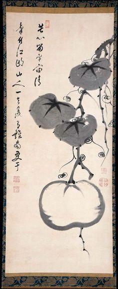 Gourd唐瓜図Japanese, Edo period, late 18th centuryItô Jakuchû, Japanese, 1716–1800Calligrapher: Obaku Tangai, Japanese, died in 1763