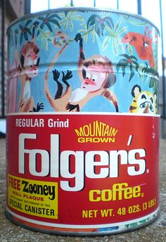 Vintage Folgers Coffee Zooney Wall Plaque Can Canister Folgers Coffee, Coffee Canister, Coffee Tin, Coffee Drinks, Vintage Tins, Vintage Coffee, Vintage Stuff, Retro Advertising, Vintage Advertisements