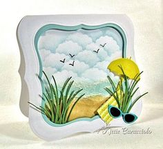 beach scene card by Kittie Caracciolo... she applied liquid applique on the water to create the appearance of sea foam!