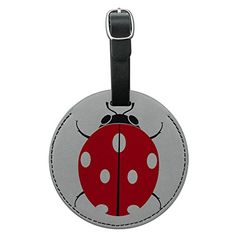 Ladybug Lady Bug Round Leather Luggage ID Tag Suitcase CarryOn * Continue to the product at the image link.Note:It is affiliate link to Amazon.