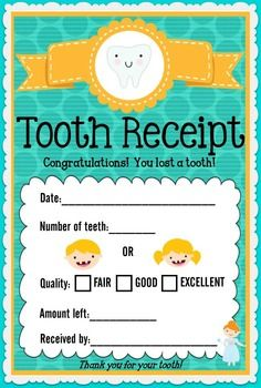 Tooth Fairy Freebie from Schoolgirl Style Dental Health Month February www. Tooth Fairy Receipt, Dental Health Month, Schoolgirl Style, Healthy Teeth, Dentistry, Classroom Organization, Classroom Ideas, Free Printables, How To Memorize Things