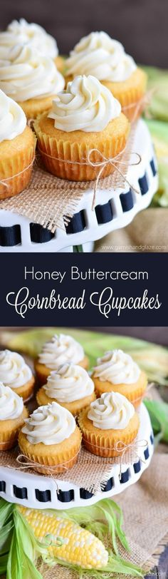 Get the taste of sweet summer desserts with these Honey Buttercream Cornbread Cupcakes!