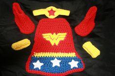 4 piece wonder woman crochet set hat cape wrist by LGCrochet, $40.00