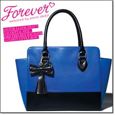 "COMING IN C-20! NEW from Paula Abdul! Forever Go Glam Bow Handbag Leatherlike cobalt-color tote with black trim is fully lined. One zip and one slip pocket. 17 1/2"" W x 11 1/2"" H. Double handle drop, 6 1/2"". #avon #accessories #fashion #purses #style #whatsnew"