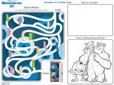 Monsters Inc Activities Page