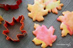 Glazed Leaf Sugar Cookies by cherylstyle #Cookies #Leaf
