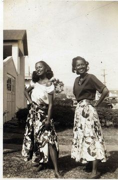 Sisters in Skirts, circa 1950's, donated by the Earl McCann Collection.  – Found on the Waheed Photo Archive