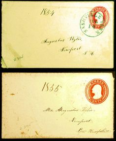 3c Red 1854 Embossed Pre-Civil War Covers Both Addressed to Augustus Wylie - Visit LittleArtTreasures.com or http://stores.ebay.com/Little-Art-Treasures