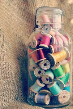 Vintage Wood Spools Thread Rainbow Vintage Jar by JunkLoveandCo, $35.00