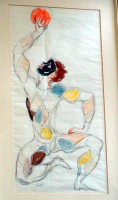 1960 - Signed Harlequin Pencil and Marker drawing by Gio Ponti