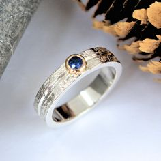 Blue Sapphire silver and gold ring