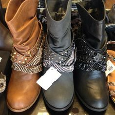bling/studded boots.. love the camel color