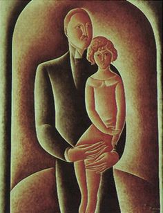 M. Maunier Et Sa Fille 1922 | Vicente do Rego Monteiro óleo sobre tela, c.i.d. 92.00 x 73.00 cm Coleção Gilberto Chateaubriand - MAM/RJ