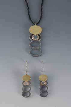 EARRINGS - OXIDIZED STERLING SILVER, 18KT, MOONSTONE    NECKLACE - OXIDIZED STERLING SILVER, 18KT, MOONSTONE ON ONYX BEADS