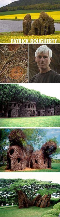 Patrick Dougherty's sculptures. #Willow #Weaving #Sculpture #Branch #Art #Installation #PatrickDougherty