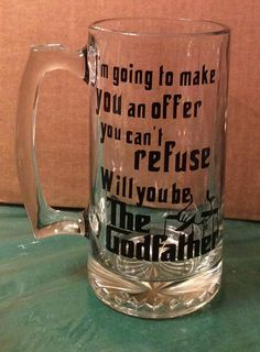 Ask that special godparent in a unique way with this 28 oz glass mug with black oracal vinyl lettering. This makes a great keepsake for The Godfather!! Note : If ordering the fairy godmother /godfather set (option 4 ) Please specify whether it is a prince or princess 20 oz. wine glass