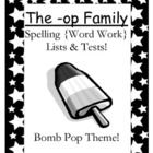 FREE The -op Family Spelling {Word Work} Lists & Tests