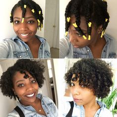 Braid out with yellow perm rods at the ends – Übergangsfrisuren Short Permed Hair, How To Curl Short Hair, Permed Hairstyles, Natural Hairstyles, Long Hair, Braid Out Natural Hair, 4c Natural Hair, Natural Hair Journey, Medium Hair Styles