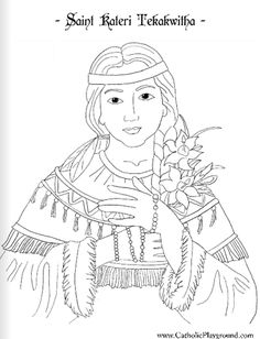 Saint Kateri Tekakwitha Catholic Coloring Page: Feast day is July 14th