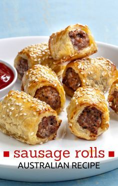 This simple sausage roll recipe is perfect to whip up for a party or BBQ when tasty finger food is in order! These Pork and Fennel Sausage Rolls are best served with our sugar-free Homemade Tomato Sauce. Aussie Food, Australian Food, Australian Recipes, Australian Sausage Rolls Recipe, Recipe For Sausage Rolls, Homemade Sausage Rolls, Sausage Recipes, Cooking Recipes, Curtis Stone Recipes