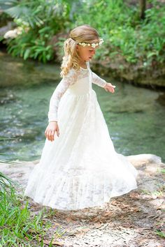 Flower Girl Dress-lvory Lace Long Sleeve Dress by jamiepowell   **fave**