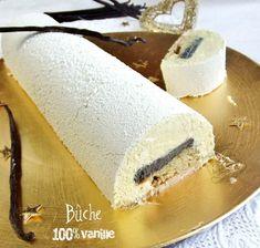 Bûche Grand Cru Vanille selon Philippe Conticini - Crémeux vanille, biscuit vanille, mousse chocolat blanc vanille et insert croustillant Duja