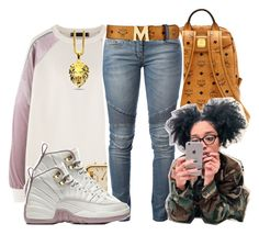 """""""Doja ~ Mike G"""" by retrovintagepizza ❤ liked on Polyvore featuring American Apparel, Balmain and MCM"""