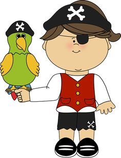 Pirate girl with parrot.