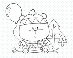OFF Winter forest Stamp - personal and commercial use - Baby bear line art, woodland graphic, digital clip art - Colorful Drawings, Cute Drawings, Colouring Pages, Coloring Books, Stick Figure Drawing, Baby Posters, Black And White Lines, Digi Stamps, Coloring For Kids