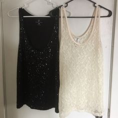 Tank top bundle! Both super cute! 2 tank tops--the black has black sequence all over the front 1/2 and is from New York and Company. The cream is a floral lace tank from Von Maur, with the brand of Ransom on the tag. Both are XL and fit similarly. New York & Company Tops Tank Tops