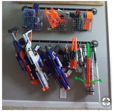 Toy Room Storage, Nerf Gun Storage, Weapon Storage, Small Space Storage, Basement Storage, Kids Storage, Wall Storage, Storage Ideas, Arma Nerf