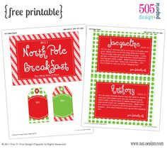 North Pole Breakfast Printables - we already had our Elf on the Shelf breakfast, but I'll save this one for next year!