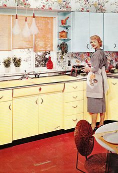 Vintage 1950's Youngstown Kitchen in yellow and red.