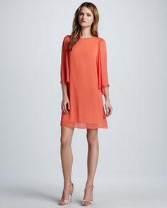 bb5e71fa5fa T6E5E Alice + Olivia Odette Flutter-Sleeve Dress