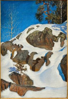 'Snow-Covered Cliffs at Kalela', Oil On Canvas by Akseli Gallen Kallela Finland) Mountain Art, Mountain Landscape, Landscape Art, Landscape Paintings, Winter Trees, Winter Art, Scandinavian Paintings, Life Paint, Landscaping