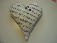 Handmade Heart Sachet Pin Cushion Ticking & by backgatecottage, $25.00