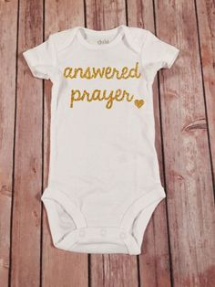Answered Prayer Gold Sparkle baby girl tee,sparkle Tee, going home outfit, newborn bodysuit, baby shower gift,sparkle shirt by SnowSew on Etsy www.etsy.com/...