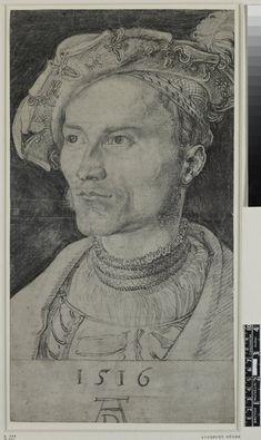 Albrecht Dürer, 1471-1528, German, Portrait of Otto zu SolmsLaubach, 1516. Charcoal on paper, 41.6 x 22.7 cm. British Museum, London. German Renaissance.