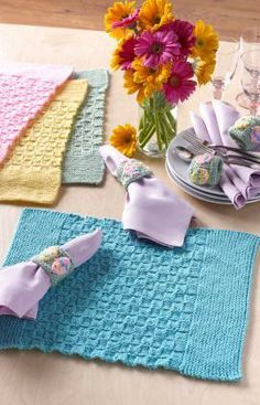 Easter Placemats with Napkin Rings Free Knitting Pattern from Red Heart Yarns