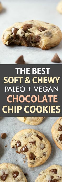 The BEST soft and chewy chocolate chip cookie recipe which is vegan, paleo and gluten-free! Made with no butter, no flour and no refined sugar, this easy chocolate chip cookie recipe takes 20 minutes Chocolate Sin Gluten, Gluten Free Chocolate Chip Cookies, Vegan Chocolate Chip Cookies, Keto Chocolate Chips, Chocolate Chip Recipes, Paleo Dessert, Dessert Sans Gluten, Paleo Sweets, Cookies Sans Gluten