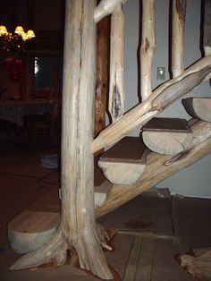 Best Trees As Porch Columns Staircase Made With Mountain Cedar Posts And Slabs By Mueller Sawmill 400 x 300