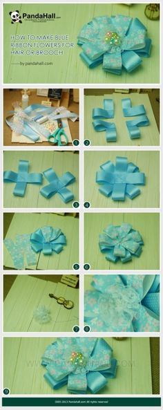 How to Make Blue Ribbon Flowers for Hair or ... | Jewelry Making Tuto�� by wanting