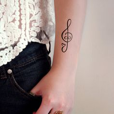 Infinte love for music temporary tattoo G Clef (2 pieces)