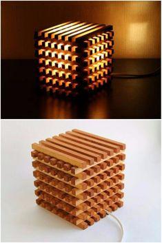 Cubo de luz de cabeceira de madeira - candeeiros de mesa