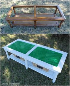 Lego Table Tutorial - How to make a Lego table, including an easy way to cut the baseplates to size. playroom How to Make a Lego Table Legos, Lego Lego, Lego Minecraft, Minecraft Crafts, Lego Batman, Minecraft Skins, Table Lego, Lego Table With Storage, Outdoor Toy Storage