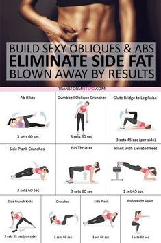 Fitness Workouts, Side Workouts, Side Fat Workout, Strength Training Workouts, Fitness Workout For Women, At Home Workout Plan, Tummy Workout, Training Plan, Oblique Workout